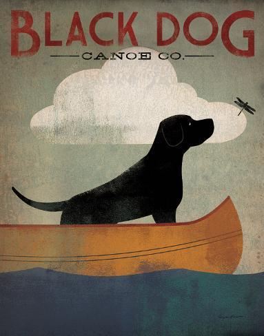 Black Dog Canoe Art Print