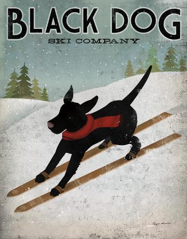 Black Dog Ski Mounted Print