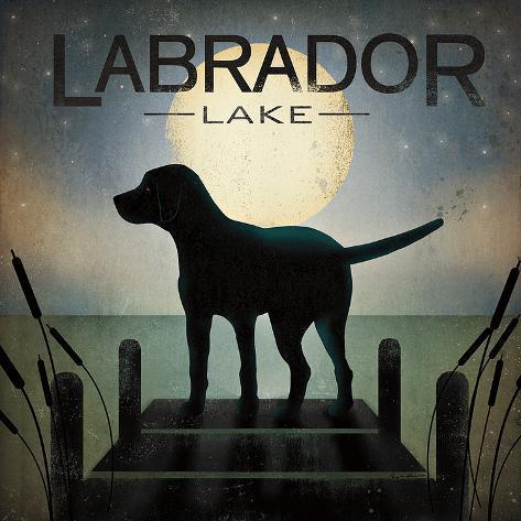 Moonrise Black Dog - Labrador Lake Art Print