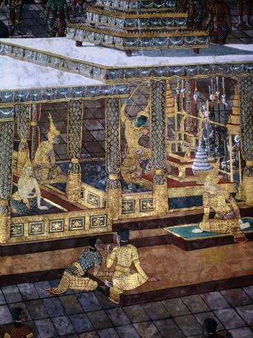 Detail of Mural in the Grand Palace, Bangkok, Thailand Photographic Print