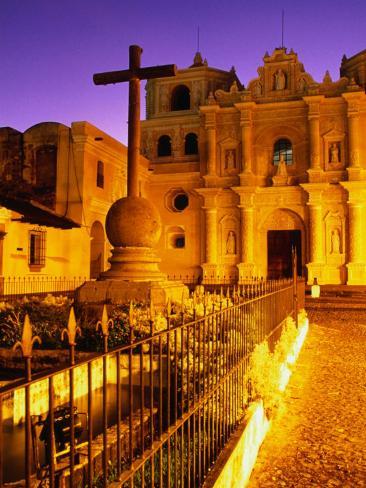 Iglesia De La Merced at Sunset, Antigua Guatemala, Guatemala Photographic Print