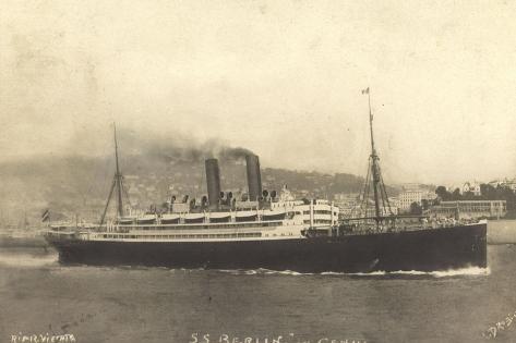 S.S. Berlin in Genua, Lloyd Bremen, Dampfschiff Stampa giclée