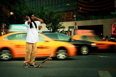 A Young Skateboarder in Union Square, New York City Photographic Print