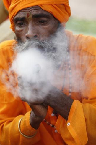 Sadhu Smoking Cannabis Stretched Canvas Print