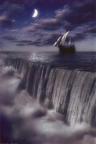 Sailboat and Waterfall at Earth's End Poster