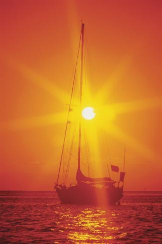 Sailboat Silhouette at Sunset Stretched Canvas Print