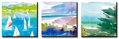 Sailboats and Lake I Triptych Canvas Art Set
