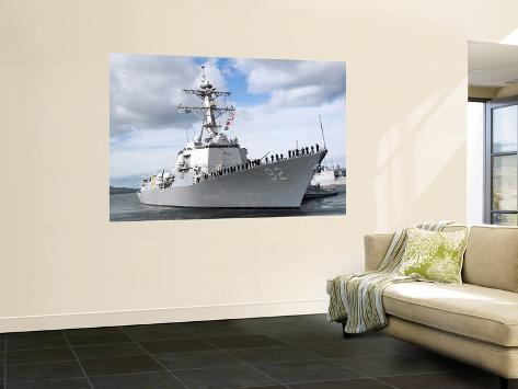 Sailors Stationed Aboard the Guided-Missile Destroyer USS Momsen (DDG 92) Man the Rails Wall Mural