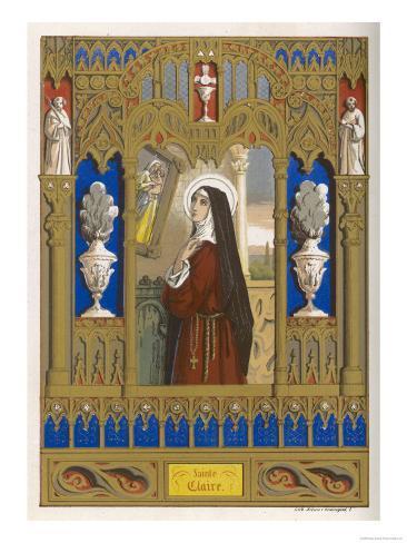 Saint Clare of Assisi Follower of S. Francesco Lámina giclée