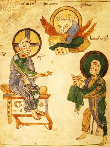 Saint Luke the Evangelist, Miniature from a Gospels, Latin Manuscript 8th Century Lámina giclée