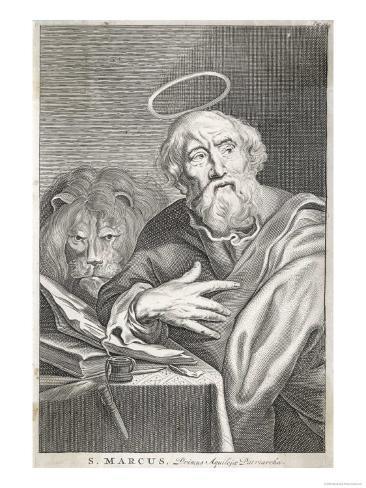 Saint Mark the Evangelist Saint Mark Shown Writing His Gospel Lámina giclée