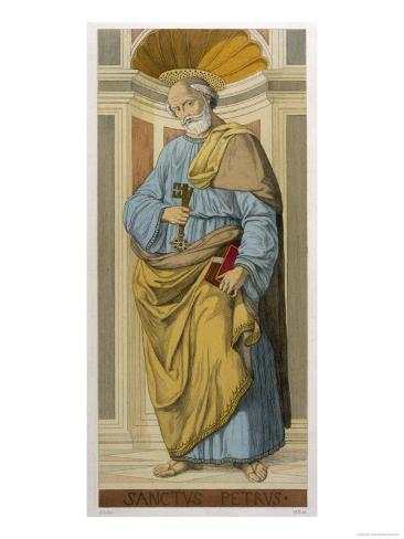 Saint Peter the First Pope Depicted Clutching the Keys of the Kingdom Given Him by Jesus Lámina giclée