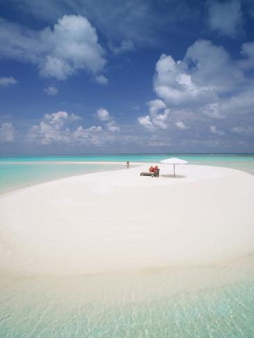 Woman Walking on a Sandbank, Maldives, Indian Ocean, Asia Photographic Print
