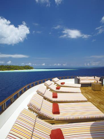 Yacht and Tropical Island, Maldives, Indian Ocean, Asia Photographic Print