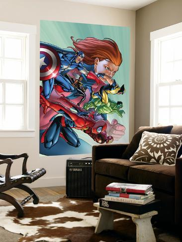 Marvel Adventures Avengers No.32 Cover: Spider-Man, Captain America, Wolverine and Hulk Wall Mural