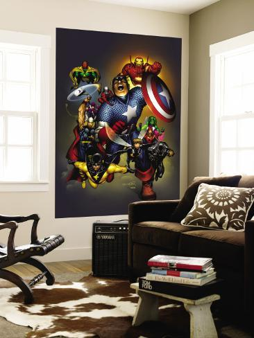 The Official Handbook Of The Marvel Universe: Avengers 2004 Cover: Captain America Wall Mural