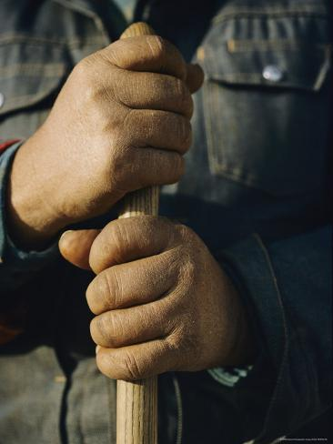 View of the Hands Holding the Handle of a Shovel Photographic Print