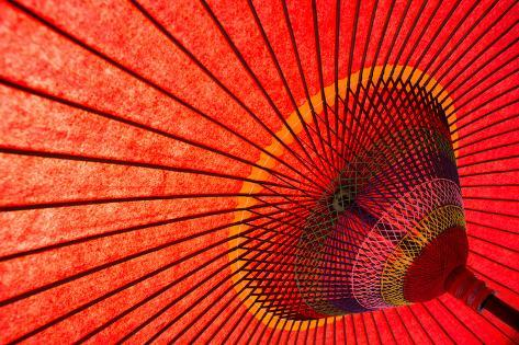 Underside of Red Japanese Parasol Photographic Print