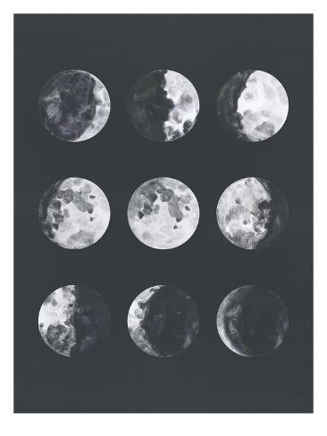 Moon Phases Watercolor Ii Stampa artistica