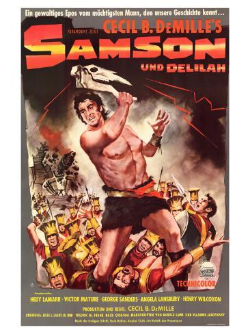 Samson & Delilah, German Movie Poster, 1949 アートプリント