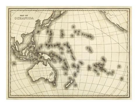 Map of Oceanica, c.1839 Art Print