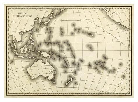Map of Oceanica, c.1839 Framed Giclee Print