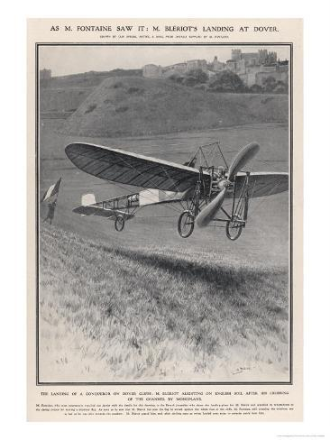 Louis Bleriot Flies the Channel Landing at Dover 37 Minutes after Take-Off from Near Calais Giclee Print