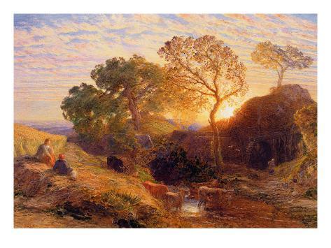 Sunset, C.1861 (W/C, Graphite, B/C and Gum on Card) Giclee Print