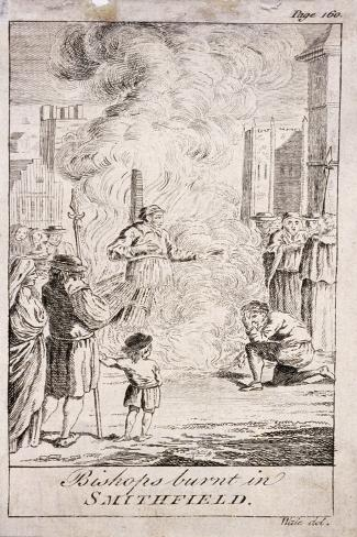 Protestant Bishops Being Burnt at Smithfield, During the Reign of Mary I, 16th Century, (C176) Lámina giclée