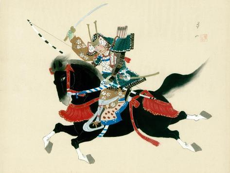 Samurai Warrior Riding A Horse Japanese Painting On Silk In Traditional Style