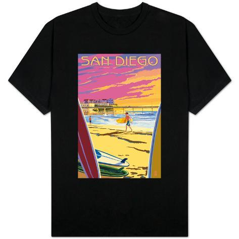 San diego california beach and pier t shirt for Shirt printing san diego