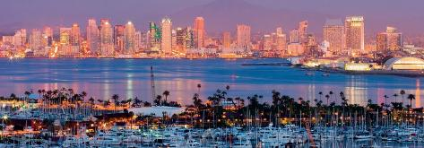San Diego Skyline at Night and Marina Art Print