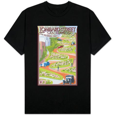 San francisco california lombard street shirts for Shirt printing stockton ca
