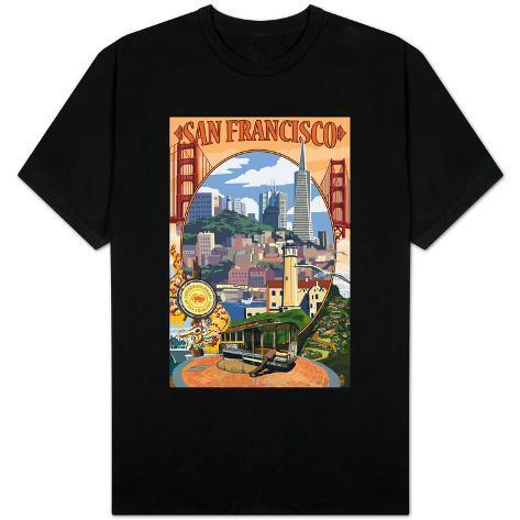 San francisco california scenes t shirts for Shirt printing stockton ca