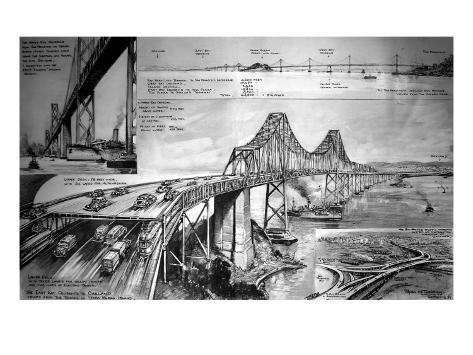 San Francisco - Oakland Bay Bridge Giclee Print