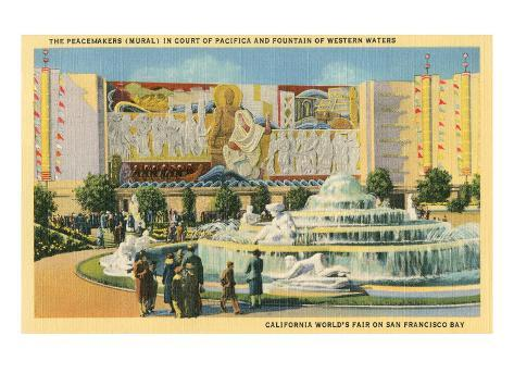 San Francisco World's Fair, Peacemakers Mural Stretched Canvas Print