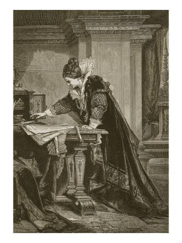 Queen Elizabeth Signing the Death Warrant of Mary Queen of Scots, Engraved by C. Butterworth Giclee Print
