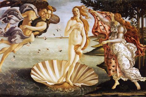 O nascimento de Vênus, cerca de 1485 Impressão montada