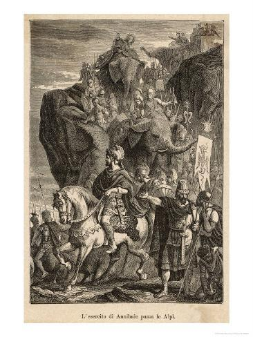 Second Punic War: Hannibal Descends into Italy after Crossing the Alps with His Elephants Giclee Print