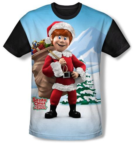 Santa Claus Is Comin To Town - Helpers(black back) Sublimated