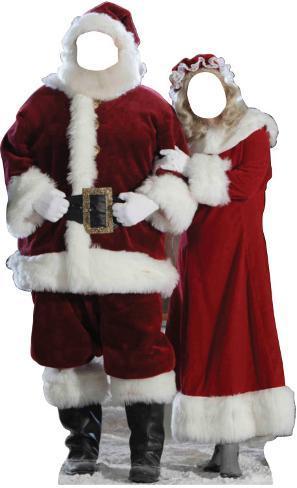 Santa & Mrs. Claus Stand In Cardboard Cutouts