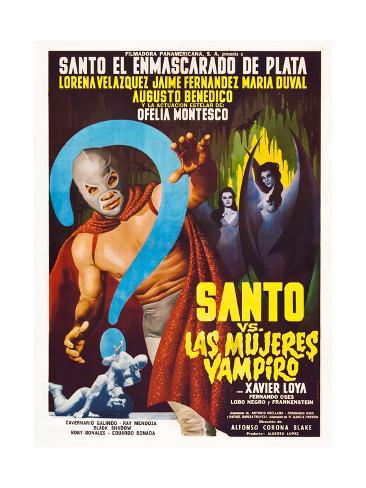 Santo vs. Las Mujeres Vampiro, Spanish poster art, 1962 Art Print
