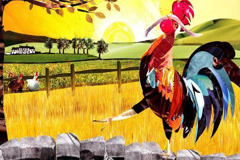 Rooster Holding Worm, Walking on Wall Prints by Sarah Jackson - at ...