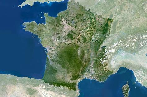Satellite Image of France Stretched Canvas Print