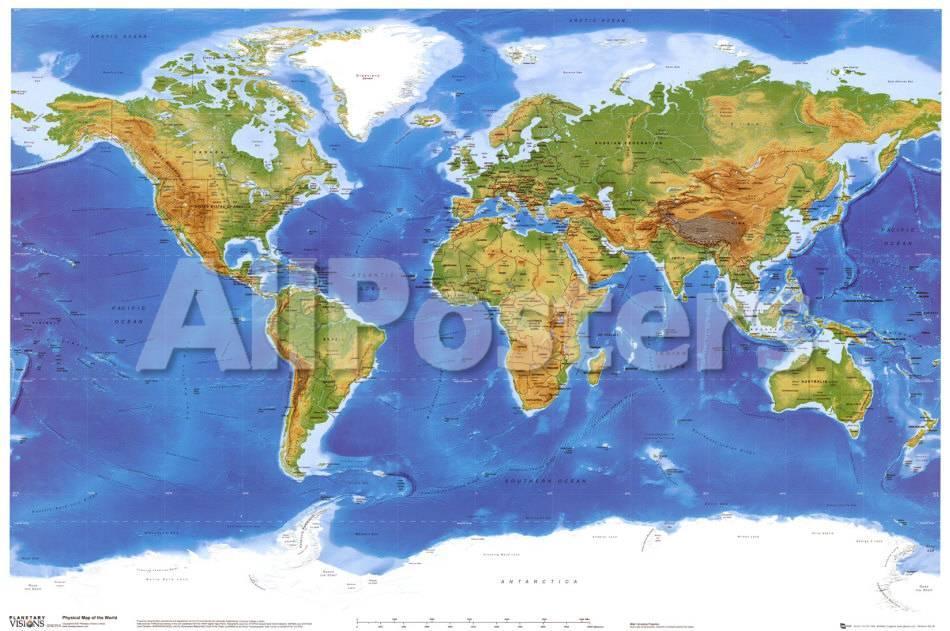 オールポスターズの satellite physical map of the world 写真