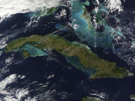 Satellite View of Cuba Photographic Print