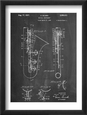 Saxophone Patent Framed Art Print