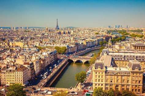 Aerial View of Paris, France Photographic Print