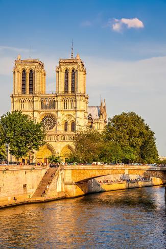 Notre Dame De Paris at Sunset, Paris, France Photographic Print