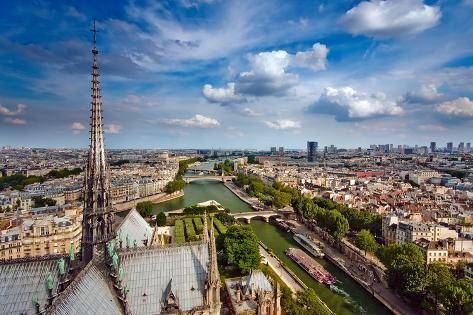 View on Paris from Notre Dame, France Photographic Print